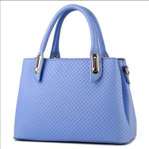 Light Blue Vegan Leather shoulder tote purse bag